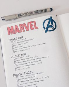 Bullet journal layout ideas - Marvel Comics Here's our huge list of bullet collection ideas, along with loads of examples. From the most basic, to the more extreme bullet journal collection ideas! Bullet Journal Tracker, Bullet Journal Inspo, Bullet Journal Spread, Bullet Journals, Bullet Journal Tv Series, Bullet Journal Essentials, Bujo, Bullet Journal Collections, Movie Tracker