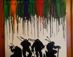 TMNT Melted Crayon Painting