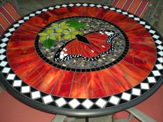 Glass mosaic patio table