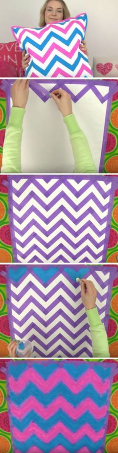 Chevron Cushion | Click Pic for 20 Cool DIY Projects for Teen Girls Bedrooms | Easy Crafts for Teen Girls to Make