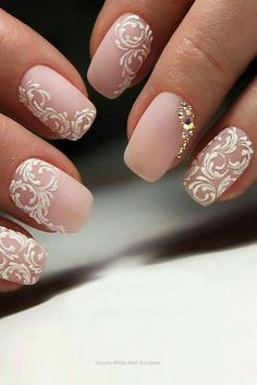 Bridal Nail Art Designs for Women in 2019 Page 15 of 20 Fashion wedding nails Bridal Nails Designs, Bridal Nail Art, Fall Nail Art Designs, Wedding Nails Design, White Nail Designs, Lace Nail Design, White Nails With Design, Elegant Bridal Nails, Vintage Wedding Nails