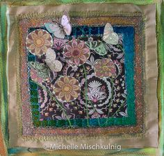 Working with paper I love to incorporate many different textures and materials into my textile art work. One of the materials I adore to work with is paper. All sorts of paper – gift wrapping, tissue paper, craft paper, scrapbooking paper, paper doilies, paper towel, paper bags – the list goes on.  You can rework papers by painting, distressing, hand stitching, layering fabrics, glimmer, fo ...