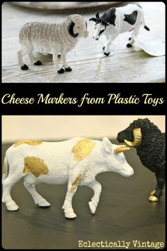 DIY Cheese Markers from Plastic Toys from www.eclecticallyvintage.com
