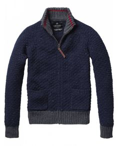 Heavy knitted zip-through cardigan with contrasting collar from Scotch  Soda