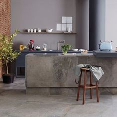 Industrial concrete looking kitchen. Achieve it easily with Gibraltar Ash Natural tiles in 900x900
