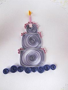 quilled birthday card | Quilled Birthday Card cake candels purple bow ribon green handmade ...