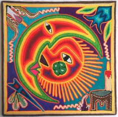 12 Mexican Huichol Sun and Moon Eclipse yarn painting by Aramara I Shop, My Etsy Shop, Yarn Painting, Mexican Art, Mosaic, Bead, Moon, Embroidery, Sewing