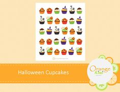 Halloween Stickers, Halloween Cupcakes, Planner Stickers, Kiwi, Messages, Make It Yourself, Orange, Fall, How To Make