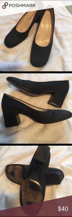Classic satin pumps Dressy but comfy sarin shoes by Prada. Some minor water staining on the inner part of the front - unnoticeable when wearing. Size 36.5 but wears more like a 7 Prada Shoes Heels
