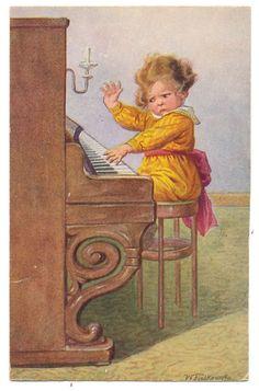 Wally Fialkowska - Little Boy Playing Piano Doesn't Like What He's Hearing