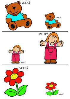 Pro Štípu: Velký - malý Measurement Worksheets, Preschool Worksheets, Printable Art, Montessori, Floral, Kids, Schools, Special Education, Infant Crafts