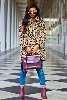 Ashon Fashionary: Leopard Print Faux Fur Coat