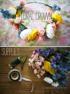 DIY floral crown - bleubird vintage Thank you Gala Darling for supplying the link!