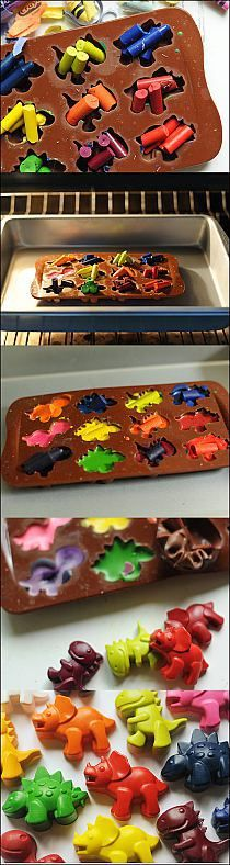 Melt crayons in dinosaur candy molds - fun for boys and girls!