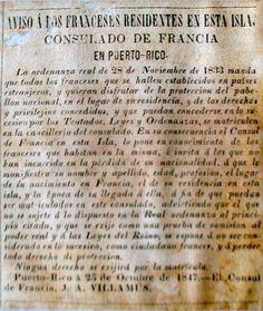 Consulado de Francia en Puerto Rico, año 1833