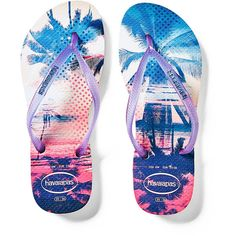 Victoria's Secret Slim Paisage Flip-Flop ($34) ❤ liked on Polyvore featuring shoes, sandals, flip flops, purple, rubber shoes, purple sandals, pull on shoes, slip on sandals and slip on shoes