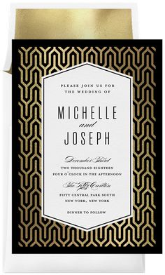This elegant wedding invitation suite features an Art Deco inspired background pattern in foil stamping and formal typography, perfect for your black tie wedding! Wedding Invitation Inspiration, Wedding Invitation Suite, Elegant Wedding Invitations, Art Deco Invitations, Invitation Cards, Invites, Digital Ink, Budget Planner, Foil Stamping