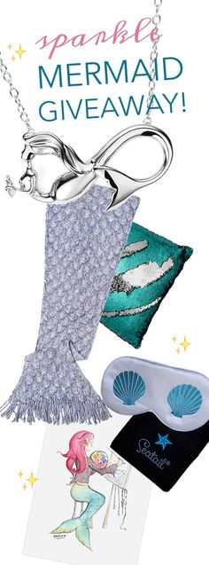 Enter to Win these Luxury Mermaid Treasures from Seatail! Cozy Mermaid Tail Blanket, Color-changing Mermaid Pillow Cover, Silk Sleep Mask, Mermaid Forever Infinity Necklace, and Mermaid Artist Print! Winner announced Jan 24, 2017 ~ Enter Now!