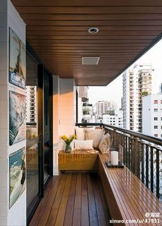 smart seating and storage for long narrow balcony apartment or condo