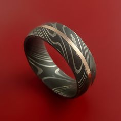 Damascus Steel 14K Rose Gold Ring Wedding by StonebrookJewelry, $518.92