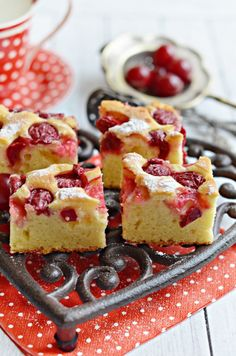 Raspberry & Coconut Slice ('icing sugar' is powdered sugar for you Americans Just Desserts, Delicious Desserts, Yummy Food, Sweet Recipes, Cake Recipes, Dessert Recipes, Eat Dessert First, Dessert Bars, Raspberry Coconut Slice