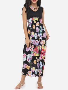 V Neck Dacron Floral Maxi Dress