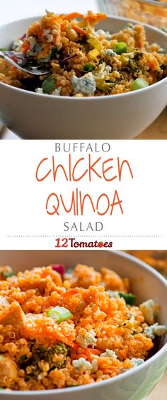 Buffalo Chicken Quinoa Salad | We combined lean, white meat chicken with fiber-packed quinoa, plenty of bright, crunchy veggies, a healthy does of that tangy hot sauce, and of course a little bit of bleu cheese crumbles to top it all off. This hearty salad is bursting with color and flavor – it's our favorite new way to enjoy Buffalo chicken, and we bet you'll agree!