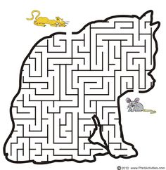 Cat shaped maze from PrintActivities.com