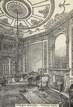 Octagon Boudoir -- Adams style. The practical cabinet maker ... (1910) In the Mary Ann Beinecke Decorative Art Collection. Sterling and Francine Clark Art Institute Library.  http://archive.org/stream/practicalcabinet1910hodg#page/182/mode/2up