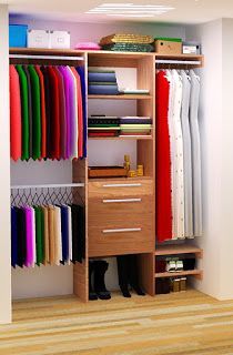 DIY Closet Organizer Plans For 5' to 8' Closet -- although it wouldn't work with sliding doors