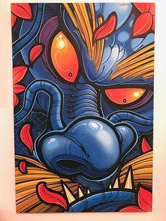 A collection of art and merchandise from the creative mind of David Tevenal. Graffiti Drawing, Art Drawings, Tatuagem New School, Shetland, Crazy Wallpaper, Samurai Art, Japan Art, Colorful Drawings, Doodle Art