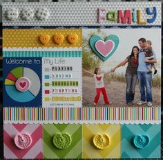 """Featuring the new Daily Chevies & Everyday Bits collection from Bella Blvd. """"Family"""" layout by DT Leader, Laura Vegas. Products available in August 2013."""
