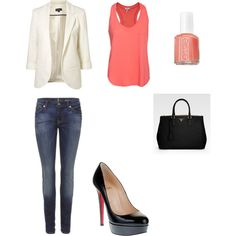 Night Out On the Town--regular wash skinny jeans, coral racerback tank, and white blazer.