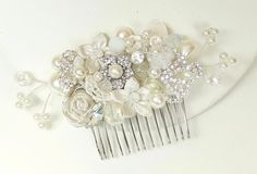 Ivory Bridal Comb-Off white Hair Accessories- Bridal Hair Accessories- Floral Hair Clip-Pearl Comb -Bridal Hairpiece- Rhinestone Bridal Comb