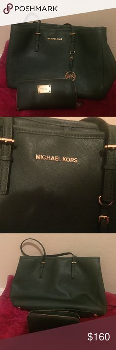 Michael kors purse Green Michael kors purse with wallet as you could see green color in good condition Michael Kors Bags
