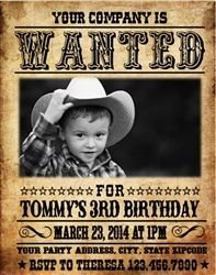 Personalized Western Themed Birthday Party Invitation - Wanted Poster Birthday Invitation with Picture. Cowboy / Cowgirl Theme Birthday Party Invitation