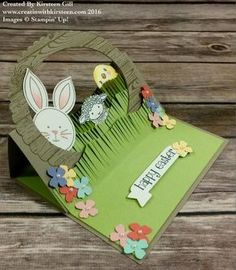 Kirsteen's Easter easel card: Easter Lamb, Honeycomb Happiness (SAB'16), Friends & Flowers, Hardwood, & more - all from Stampin' Up!