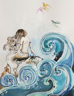 "Beautiful art by Saatchi Online Artist: Sara Riches; Pen and Ink, Drawing ""Cliodna's Wave"" Real Mermaids, Mermaids And Mermen, Fantasy Mermaids, Fantasy Kunst, Fantasy Art, Wave Art, Mermaid Art, Mermaid Paintings, Wave Paintings"