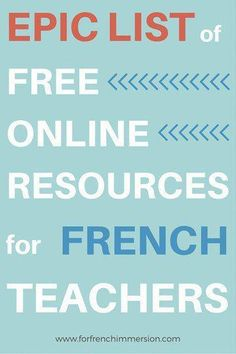 Free Online Resources For French Teachers – For French Immersion – Epic list o… - Pin Hairs How To Speak French, Learn French, French Websites, Teaching French Immersion, High School French, French Kids, French Flashcards, French Teaching Resources, Teaching Ideas