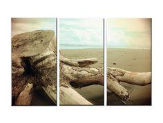 Paradise City: Large Canvas Art, 3 Panel, Triptych, Vintage, Surf, Ocean, Soft Colors