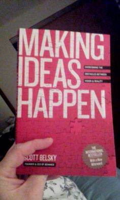 Working on my procrastination problem in bed.  Making Ideas Happen by Scott Belsky of Behance.