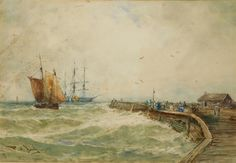 Artwork by Thomas Bush Hardy, Fishing boat and three-masted barque in a squall by a pier, Made of watercolour Hardy Fishing, His Travel, Fishing Boats, Continents, Watercolour, Holland, Art Gallery, Italy, Artist