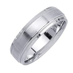 Men's Migrain Detail and Satin Finish Wedding Band in Platinum 6.5mm
