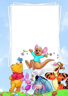 Cute PNG Frame with Winnie the Pooh and Friends.
