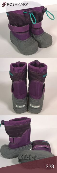 COLUMBIA waterproof purple boots.  Size 7 INF COLUMBIA waterproof boots.  Infant/toddler size 7 EUC. Purple, grey teal accents.  Liners inc. Columbia Shoes Rain & Snow Boots