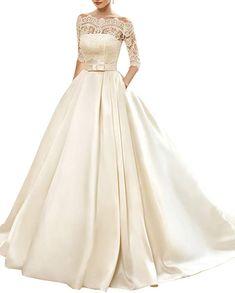578dd73733db5 KISSBRIDAL Women's Bateau 3/4 Sleeve Bridal Gown Lace Tulle A-line Wedding  Dress