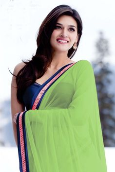 Heropanti Actress Kriti Sanon In Green Sare to get more hd and latest photo click here http://picchike.blogspot.com/