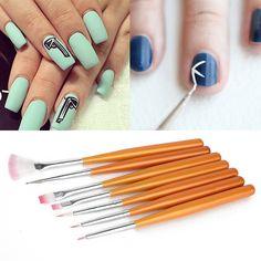 7pcs Pro Nail Art Painting Drawing Pen Design Polish Brush Tools Sets