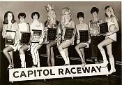 Ladies of drag racing in the mid 60s. Shay Nichols, ?, Della Woods, Linda Vaughn, Bunny Burkett, Judy Lilly, Paula Murphy and Hurst girl Nikki Phillips.