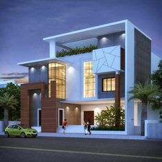 Building exterior, building design, building a house, buy property, house f Modern Bungalow Exterior, Modern Exterior House Designs, Latest House Designs, Modern Architecture House, Modern House Design, Exterior Design, Flat Design, Logo Design, Architect Design House
